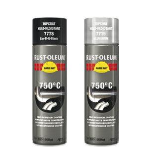 Farba termoodporna żaroodporna Hard Hat 750c Rust Oleum spray na wysokie temperatury gorące podłoże